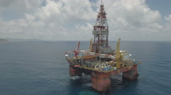 Aerial view of Chinese offshore drilling platform in South China Sea Stock Footage