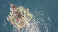 Overhead static aerial view Chinese offshore petrochemical oil drilling platform Stock Footage