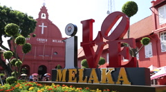 Cutaways Malaysia Outside Christ Church of Melaka Stock Footage