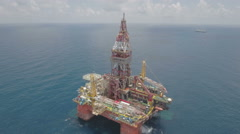 Aerial shot of Chinese offshore oil rig for exploration South China Sea Stock Footage