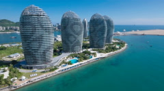 Aerial view of luxurious hotel resort, futuristic architecture China Stock Footage