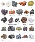 Various raw minerals and ores with names isolated Stock Photos