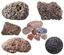 Collection from specimens of various pumice stones Stock Photos
