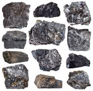 Collection from specimens of various coal minerals Stock Photos