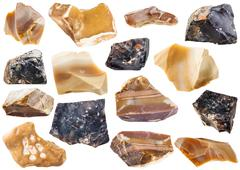 Collection from specimens of flint stone Stock Photos