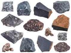 Collection from specimens of basalt rock Stock Photos