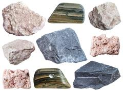 Collection of specimens of mud minerals Stock Photos
