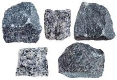Collection from specimens of Gabbro rock Stock Photos