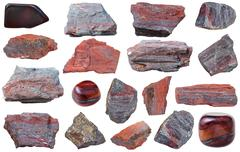 Collection from specimens of jaspillite mineral Stock Photos
