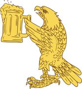 American Bald Eagle Beer Stein Drawing Stock Illustration