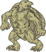 Ridley Sea Turtle Martial Arts Stance Drawing Piirros