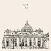 St. Peter's Cathedral, Rome, Vatican, Italy. Hand drawing Stock Illustration