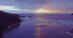 Sunrise Aerial over Waikawau Bay Beach, Coromandel, New Zealand Stock Footage