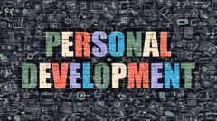Personal Development on Dark Brick Wall Stock Illustration
