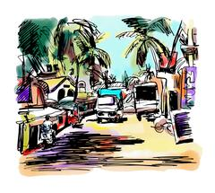 Original digital drawing of India Goa Calangute Baga landscape s Stock Illustration