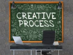 Chalkboard on the Office Wall with Creative Process Concept. 3D Stock Illustration