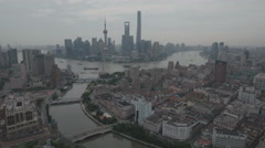 Establishing aerial footage of downtown Shanghai and city skyline Arkistovideo