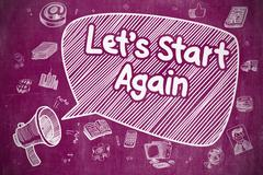 Lets Start Again - Doodle Illustration on Purple Chalkboard Stock Illustration
