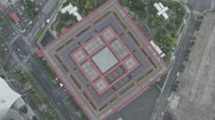 Overhead aerial view of the China pavilion at the former Expo site in Shanghai Stock Footage