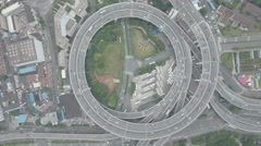 China infrastructure, high angle overhead aerial shot of Nanpu elevated highway Stock Footage