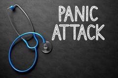Panic Attack Concept on Chalkboard. 3D Illustration Piirros