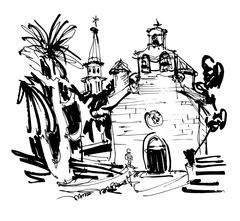 Ink drawing of historic church in with palm in Budva Montenegro Stock Illustration