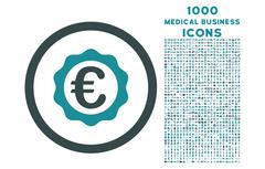 Euro Award Stamp Rounded Icon with 1000 Bonus Icons Stock Illustration