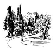 Sketching of park alley view with trees cypress and mountain in Stock Illustration