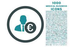 Euro Banker Rounded Icon with 1000 Bonus Icons Stock Illustration