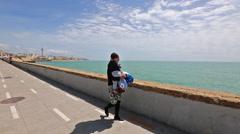 Seafront promenade of Cadiz Stock Footage