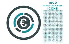 Euro Financial Diagram Rounded Icon with 1000 Bonus Icons Stock Illustration