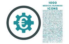 Euro Machinery Rounded Icon with 1000 Bonus Icons Stock Illustration