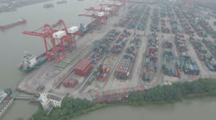 China economy, aerial view of container terminal Port of Shanghai Stock Footage