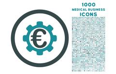 Euro Payment Options Rounded Icon with 1000 Bonus Icons Stock Illustration
