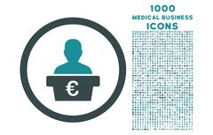 Euro Politician Rounded Icon with 1000 Bonus Icons Stock Illustration