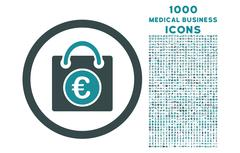 Euro Shopping Bag Rounded Icon with 1000 Bonus Icons Stock Illustration