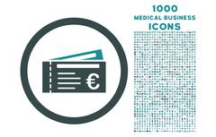 Euro Tickets Rounded Icon with 1000 Bonus Icons Stock Illustration