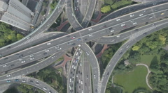 Forward flying aerial perspective of massive junction in Shanghai, China Stock Footage