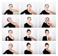Close-up fashion photo young lady in elegant black dress, playful woman Kuvituskuvat