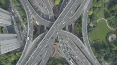 China infrastructure transportation, aerial view of elevated highway Shanghai Stock Footage