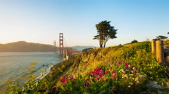 Golden Gate Bridge Toward Marin Zoom Out Timelapse From Fort Point Rock Cliffs Stock Footage