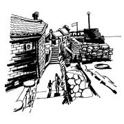 Original black and white ink sketch drawing of ancient fort in P Stock Illustration