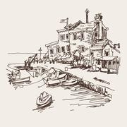Original sketch drawing of historical fort Petrovac Montenegro Stock Illustration
