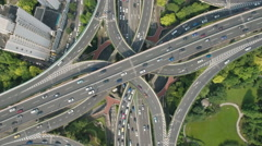 China transportation infrastructure, top down view of massive interchange Stock Footage