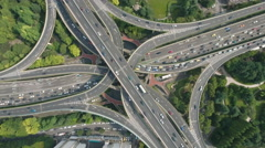 Massive intersection seen from above on a sunny day in Shanghai, China Stock Footage