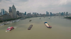 Beautiful drone flight towards the iconic Bund, a landmark in Shanghai, China Arkistovideo
