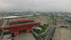 Aerial drone flight over the China pavilion at the former Expo site in Shanghai Stock Footage