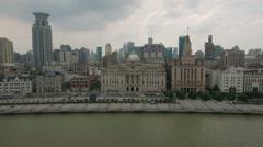 Slider aerial shot of historic city center the Bund, Shanghai, travel China Stock Footage