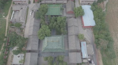 Aerial view of the famous Shaolin temple complex in China Stock Footage