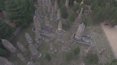 Aerial view of pagoda forest, cemetery of Shaolin temple in China Stock Footage